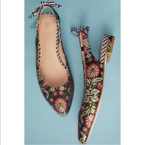 Anthropologie Bow-Tied Brocade Slingback Flats